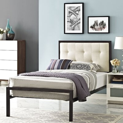Lottie Upholstered Fabric Platform Bed Color: White, Upholstery: Gray, Size: King