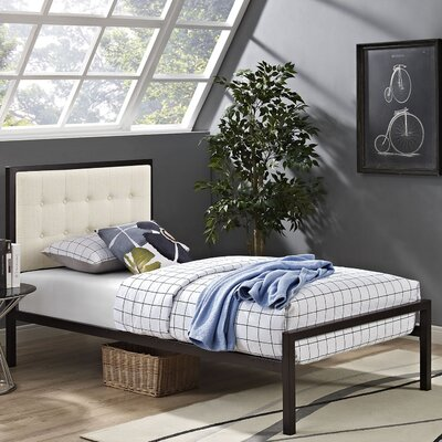 Millie Upholstered Fabric Platform Bed Size: King, Frame Color: Brown, Headboard Color: Gray