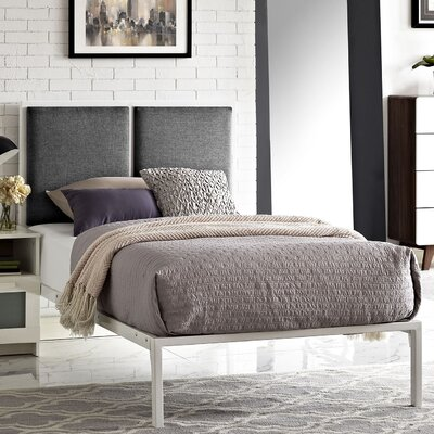 Della Upholstered Fabric Platform Bed Color: White, Upholstery: Gray, Size: Twin