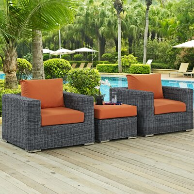 Summon 3 Piece Outdoor Patio Deep Seating Group with Cushion Fabric: Tuscan