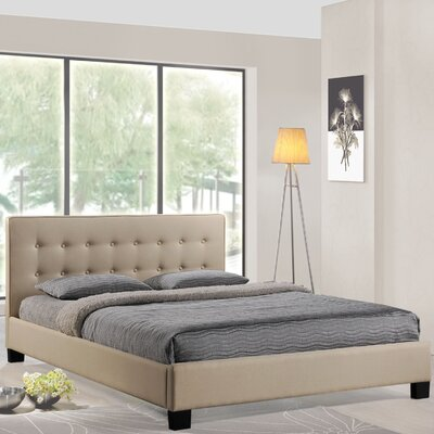 Caitlin Queen Upholstered Platform Bed Color: Beige