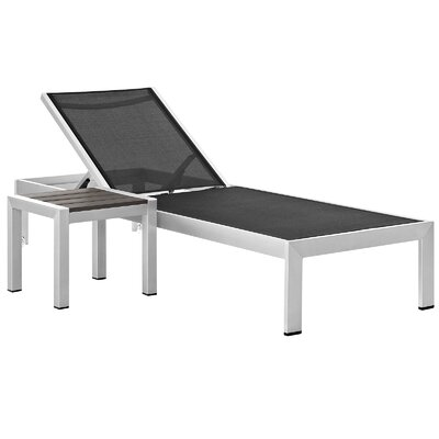 Coline Outdoor Patio 2 Piece Single Chaise and Table Set Fabric: Black