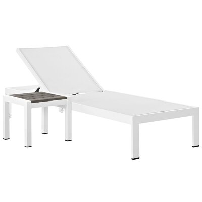 Coline Contemporary Outdoor Patio 2 Piece Metal Single Chaise and Table Set Finish: White