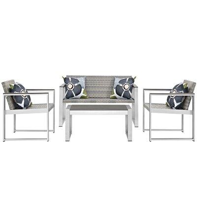 Embark Outdoor Patio Aluminum 4 Piece Lounge Seating Group