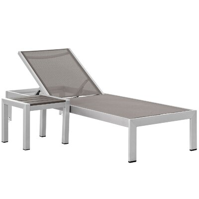 Coline Outdoor Patio 2 Piece Single Chaise and Table Set Fabric: Gray