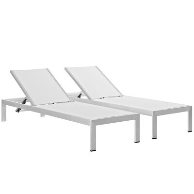 Coline Outdoor Patio Aluminum Single Chaise Finish: Silver