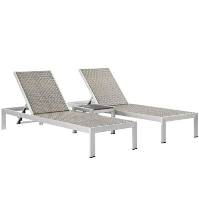 Coline Outdoor Patio 3 Piece Single Chaise and Table Set