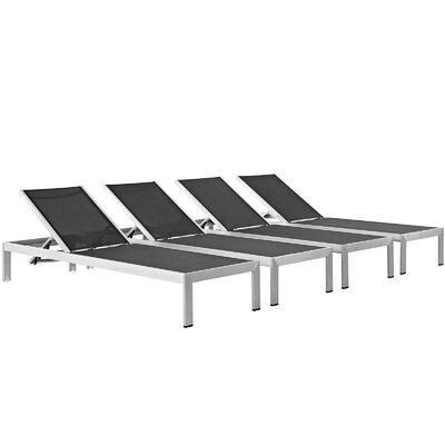 Coline Contemporary Outdoor Patio Metal Single Chaise Fabric: Black