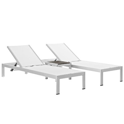 Coline Contemporary Outdoor Patio 3 Piece Single Chaise and Table Set Finish: Silver