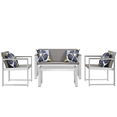Triumph Outdoor Patio Aluminum 4 Piece Lounge Seating Group