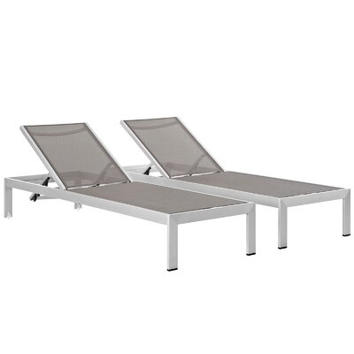Coline Modern Outdoor Patio Aluminum Single Chaise Fabric: Gray
