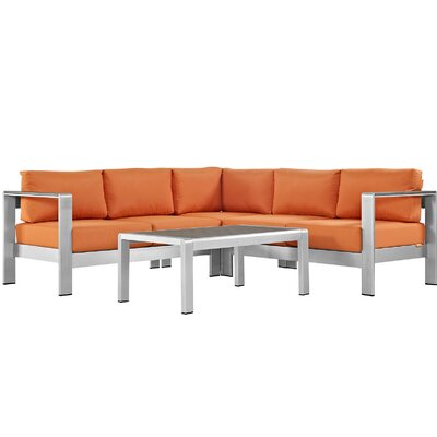 Coline Contemporary Outdoor Patio Aluminum 4 Piece Sectional Seating Group with Cushion Fabric: Orange