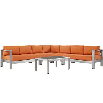 Coline Modern Outdoor Patio Aluminum 6 Piece Sectional Seating Group with Cushion Fabric: Orange