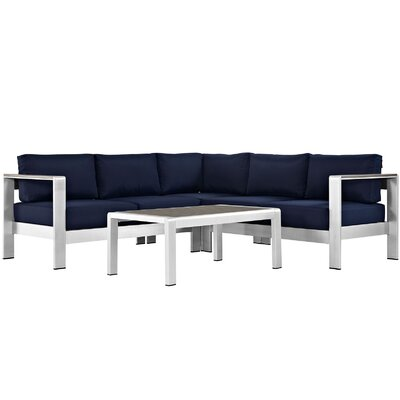 Coline Contemporary Outdoor Patio Aluminum 4 Piece Sectional Seating Group with Cushion Fabric: Navy