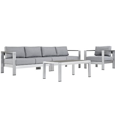 Shore Outdoor Patio Aluminum 4 Piece Sectional Seating Group with Cushion Fabric: Gray
