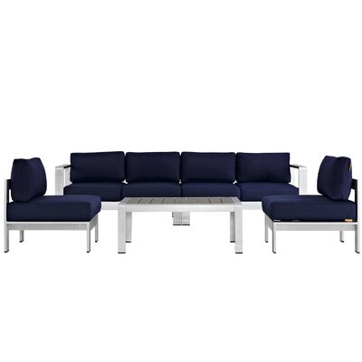 Coline 5 Piece Sectional Seating Group with Cushions Fabric: Navy