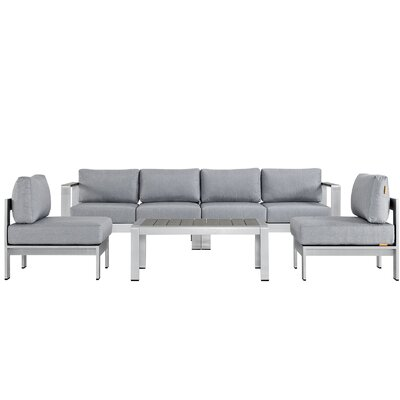 Coline 5 Piece Sectional Seating Group with Cushions Fabric: Gray