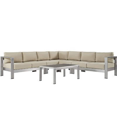 Coline Modern Outdoor Patio Aluminum 6 Piece Sectional Seating Group with Cushion Fabric: Beige