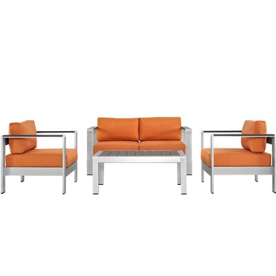 Shore Outdoor Patio Aluminum 4 Piece Sectional Seating Group with Cushion Fabric: Orange
