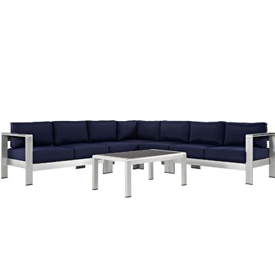 Coline Modern Outdoor Patio Aluminum 6 Piece Sectional Seating Group with Cushion Fabric: Navy