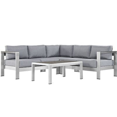 Coline Contemporary Outdoor Patio Aluminum 4 Piece Sectional Seating Group with Cushion Fabric: Gray