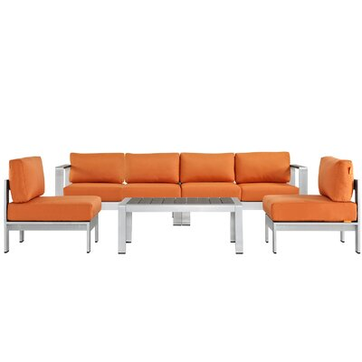 Shore 5 Piece Sectional Seating Group with Cushions Fabric: Orange