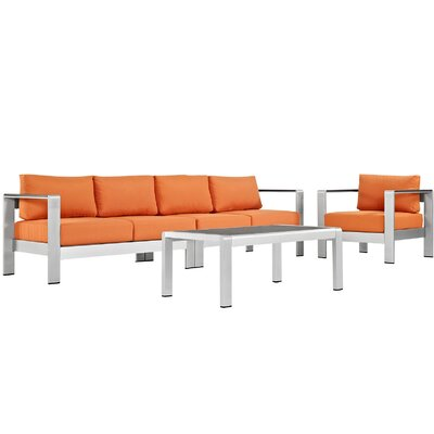 Coline Outdoor Patio Aluminum 4 Piece Sectional Seating Group with Cushion Fabric: Orange