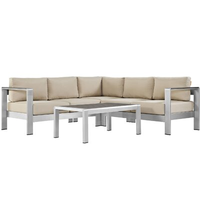 Shore Outdoor Patio Aluminum 4 Piece Sectional Seating Group with Cushion Fabric: Beige