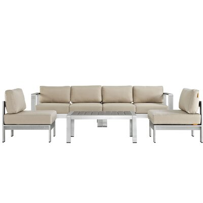 Coline 5 Piece Sectional Seating Group with Cushions Fabric: Beige