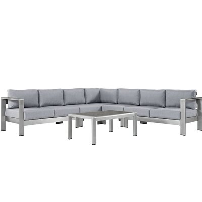 Shore Outdoor Patio Aluminum 6 Piece Sectional Seating Group with Cushion Fabric: Gray