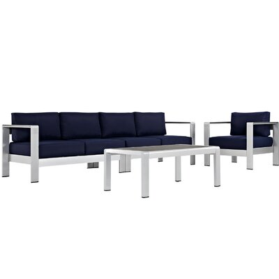 Coline Outdoor Patio Aluminum 4 Piece Sectional Seating Group with Cushion Fabric: Navy