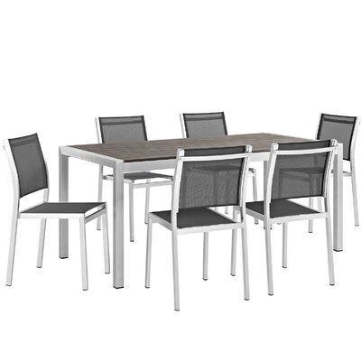 Coline Outdoor Patio Aluminum 7 Piece Dining Set