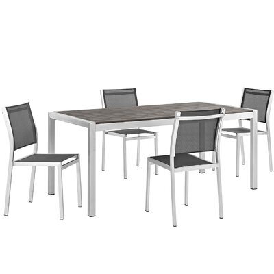 Shore Outdoor Patio Aluminum 5 Piece Dining Set