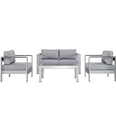 Coline Modern Outdoor Patio Aluminum 4 Piece Sectional Seating Group with Cushion Fabric: Gray