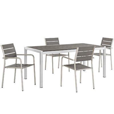 Coline Outdoor Rectangular Patio Aluminum 5 Piece Dining Set