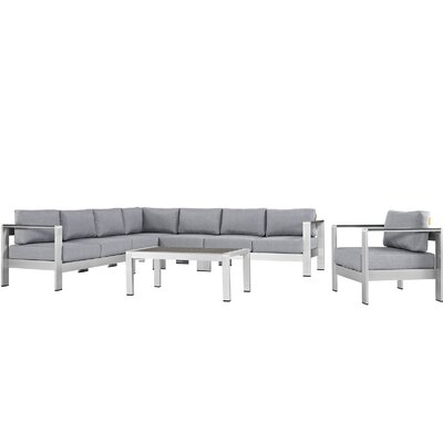 Coline Outdoor Patio Aluminum 7 Piece Sectional Seating Group with Cushion Fabric: Gray