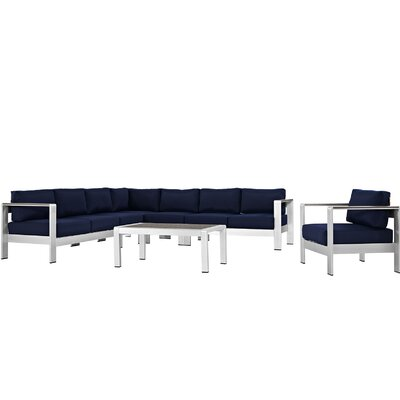 Coline Outdoor Patio Aluminum 7 Piece Sectional Seating Group with Cushion Fabric: Navy