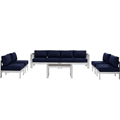 Coline 7 Piece Sectional Seating Group with Cushion Fabric: Navy