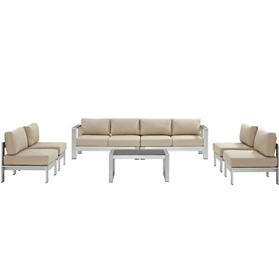 Coline 7 Piece Sectional Seating Group with Cushion Fabric: Beige