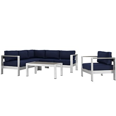 Coline Outdoor Patio Aluminum 5 Piece Deep Sectional Seating Group with Cushions Fabric: Navy