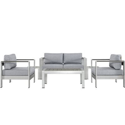 Coline Outdoor Patio Rust Resistant Aluminum 6 Piece Sectional Seating Group with Cushion Fabric: Gray