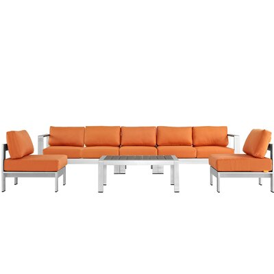 Coline Contemporary Outdoor Patio Aluminum 6 Piece Sectional Seating Group with Cushion Fabric: Orange