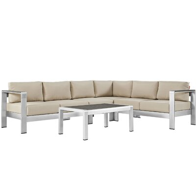 Coline Outdoor Patio Aluminum 5 Piece Sectional Seating Group with Cushion Fabric: Beige