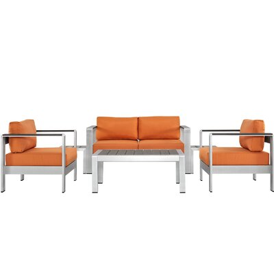 Coline Outdoor Patio Rust Resistant Aluminum 6 Piece Sectional Seating Group with Cushion Fabric: Orange