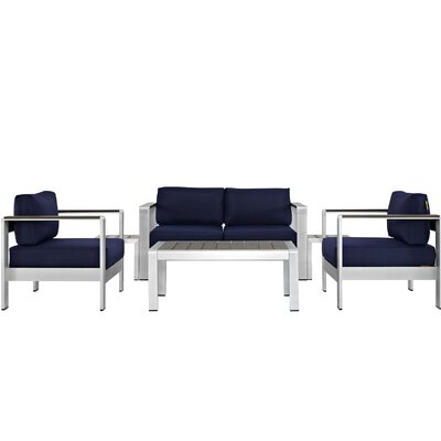 Coline Outdoor Patio Rust Resistant Aluminum 6 Piece Sectional Seating Group with Cushion Fabric: Navy