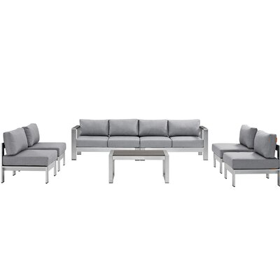 Shore 7 Piece Sectional Seating Group with Cushion Fabric: Gray