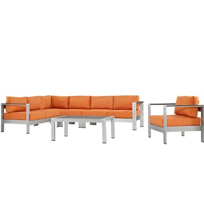 Coline Outdoor Patio Aluminum 6 Piece Sectional Seating Group with Cushion Fabric: Orange