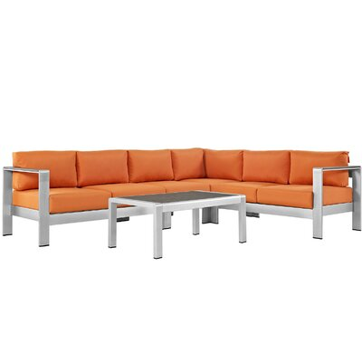 Shore Outdoor Patio Aluminum 5 Piece Sectional Seating Group with Cushion Fabric: Orange