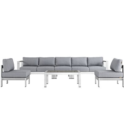 Coline Contemporary Outdoor Patio Aluminum 6 Piece Sectional Seating Group with Cushion Fabric: Gray