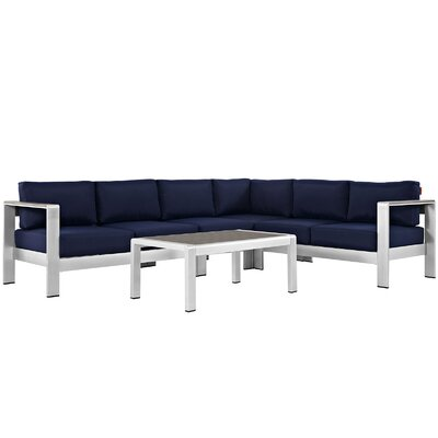 Coline Outdoor Patio Aluminum 5 Piece Sectional Seating Group with Cushion Fabric: Navy